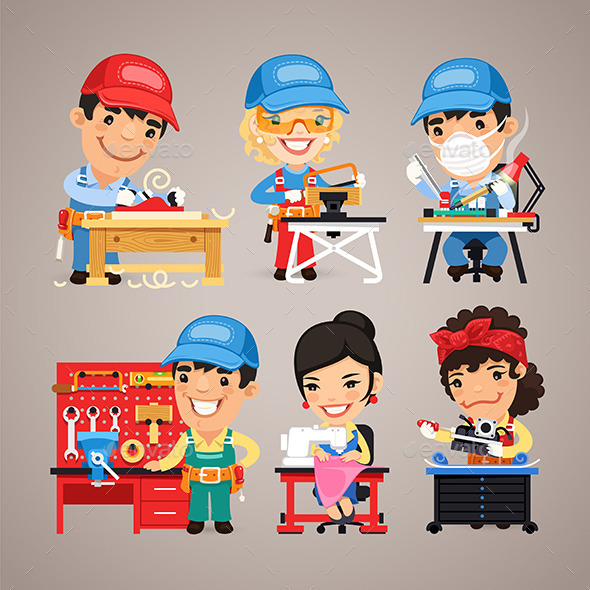 GraphicRiver Set of Cartoon Workers at their Work Desks 10996152