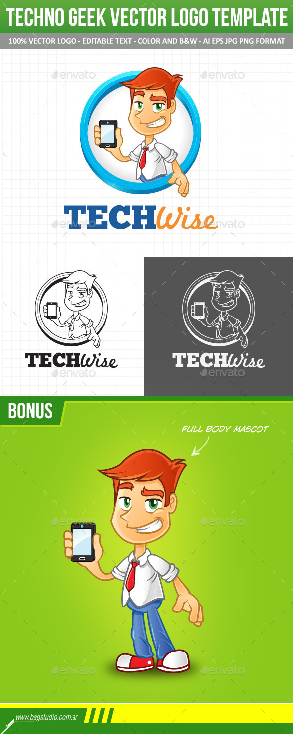 GraphicRiver Tech Geek Vector Logo Template & Mascot 10996634