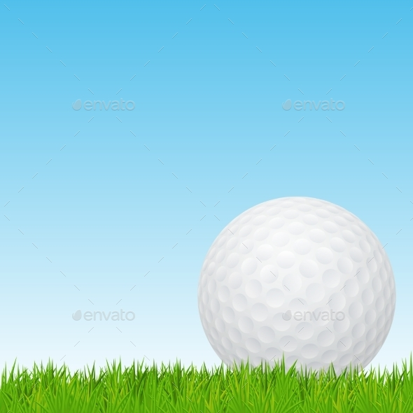 GraphicRiver Golf Ball on Green Grass 10996875