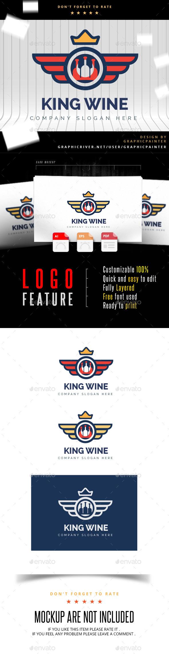 GraphicRiver King Wine Wine Logo 10997079