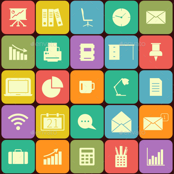 GraphicRiver Business and Office Flat Icons 10997595