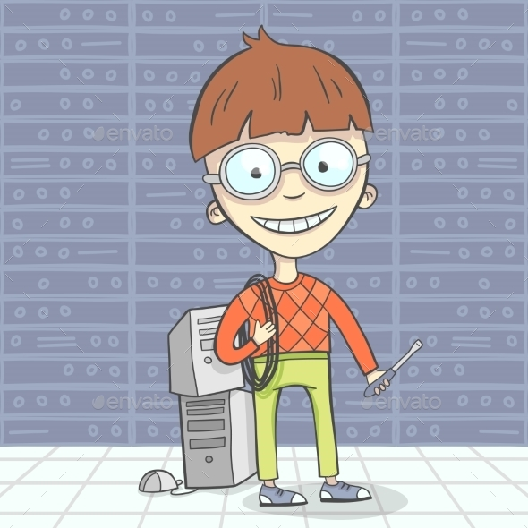 GraphicRiver Cartoon Geek Character 10997617
