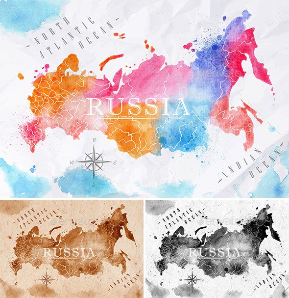 GraphicRiver Watercolor Map of Russia 10997619