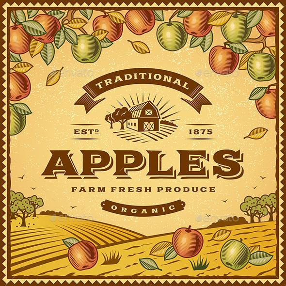 GraphicRiver Vintage Apples Label 10997732