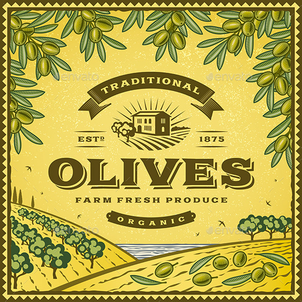 GraphicRiver Vintage Olives Label 10997783