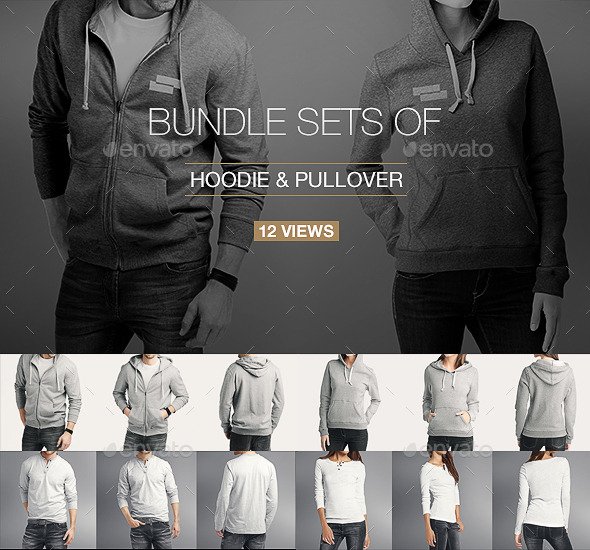 GraphicRiver Hoodie Pullover Bundle Mock up 10997915