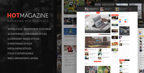 ThemeForest HOTMAGAZINE Magazine PSD Template 10913165