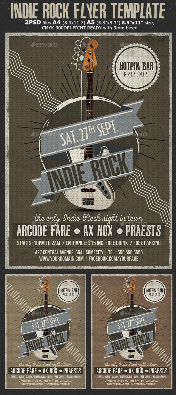 GraphicRiver Indie Rock Flyer Template 10952448