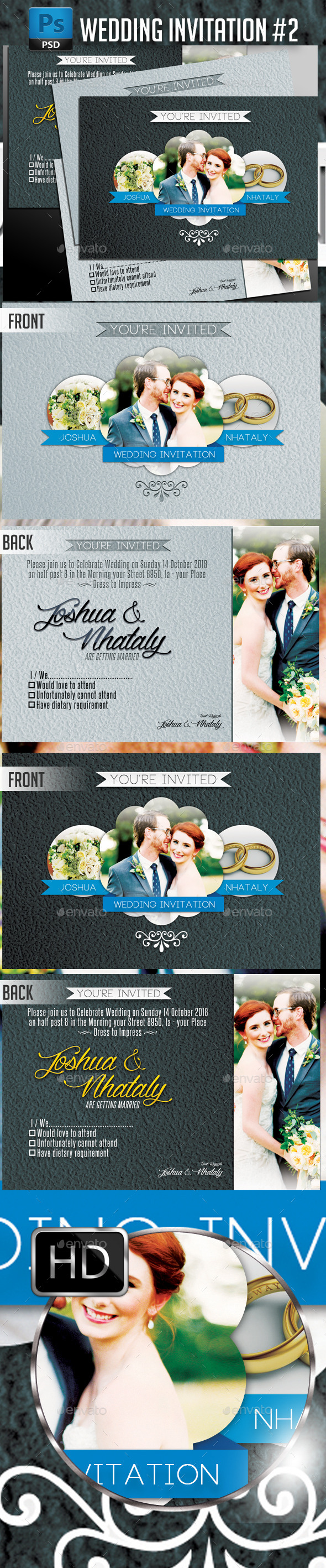 GraphicRiver Wedding Invitation #2 Horizontal 10998102