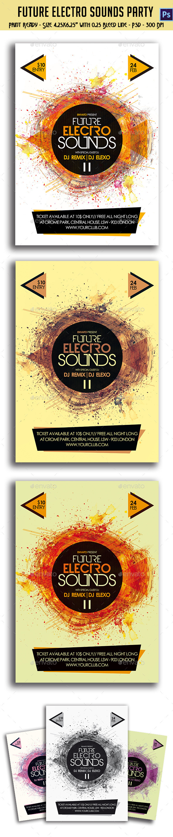 GraphicRiver Future Electro Sounds Party Party Flyer 10998348
