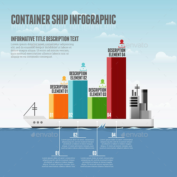 GraphicRiver Container Ship Infographic 10998359
