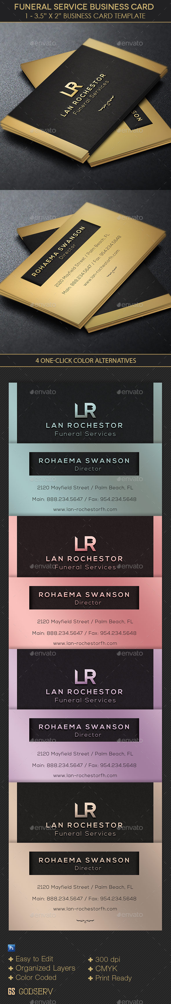 GraphicRiver Funeral Service Business Card Template 10998645