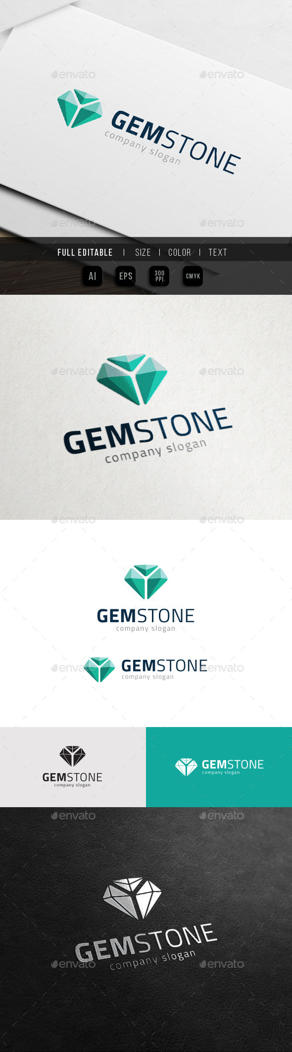 GraphicRiver Gem Stone Game Jewel Media Logo 10998775