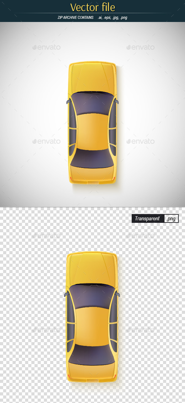 GraphicRiver Car Yellow Color Top View 11000016