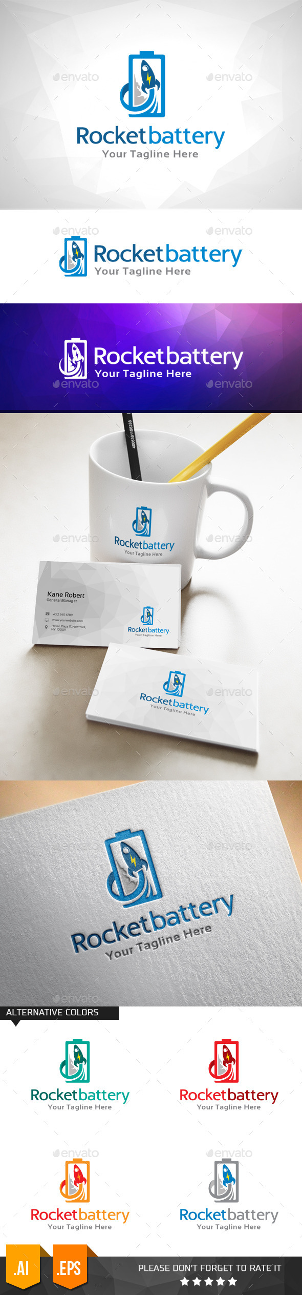 GraphicRiver Rocket Battery Logo Template 11000034