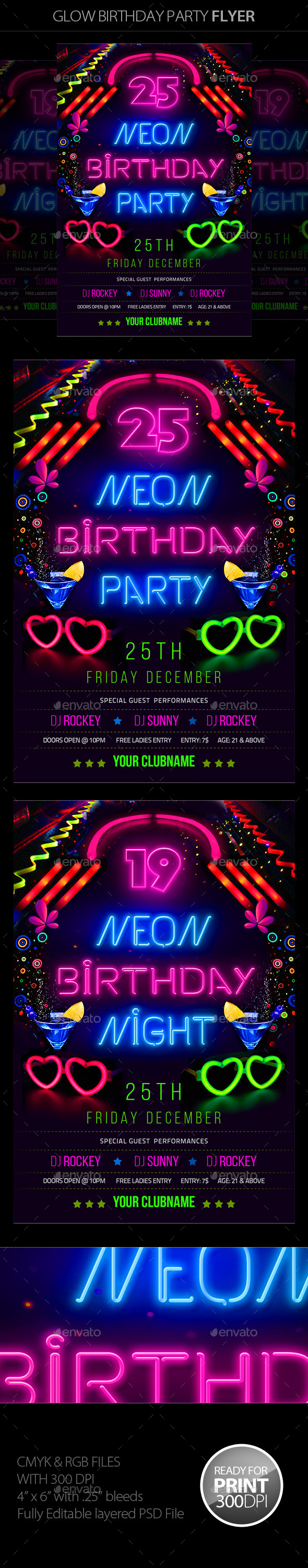 GraphicRiver Neon Birthday Party Flyer 11000048