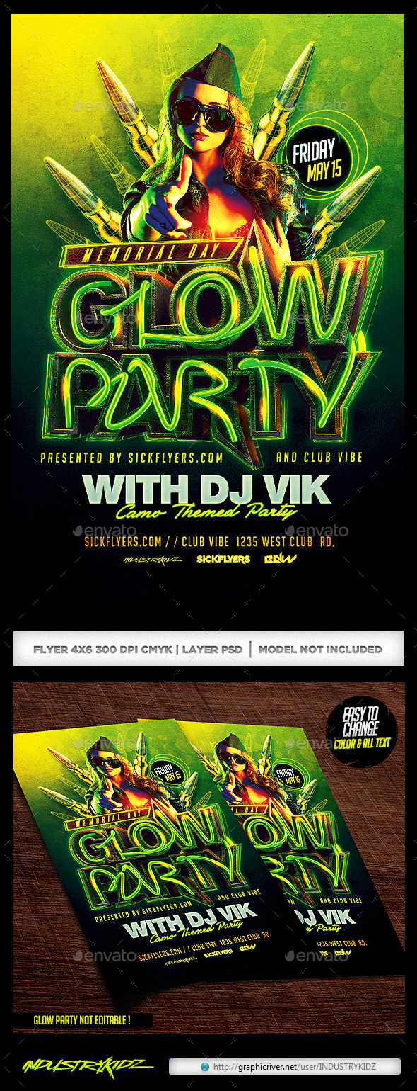 GraphicRiver Memorial Day Glow Party 11000638