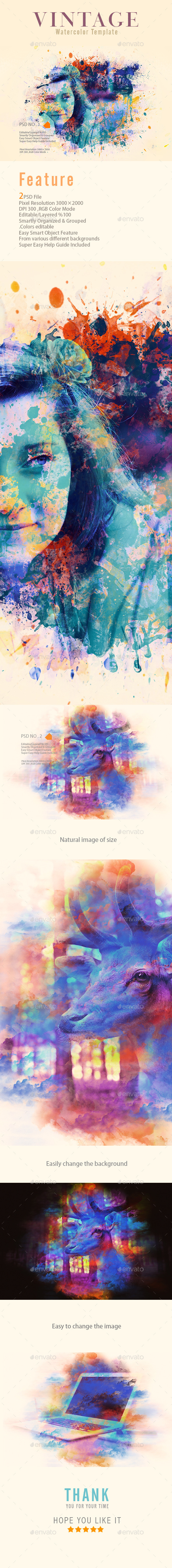 GraphicRiver Vintage Watercolor Template 11000833