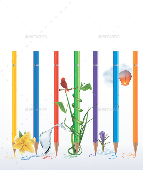 GraphicRiver Coloring Pencils Illustration 11000862