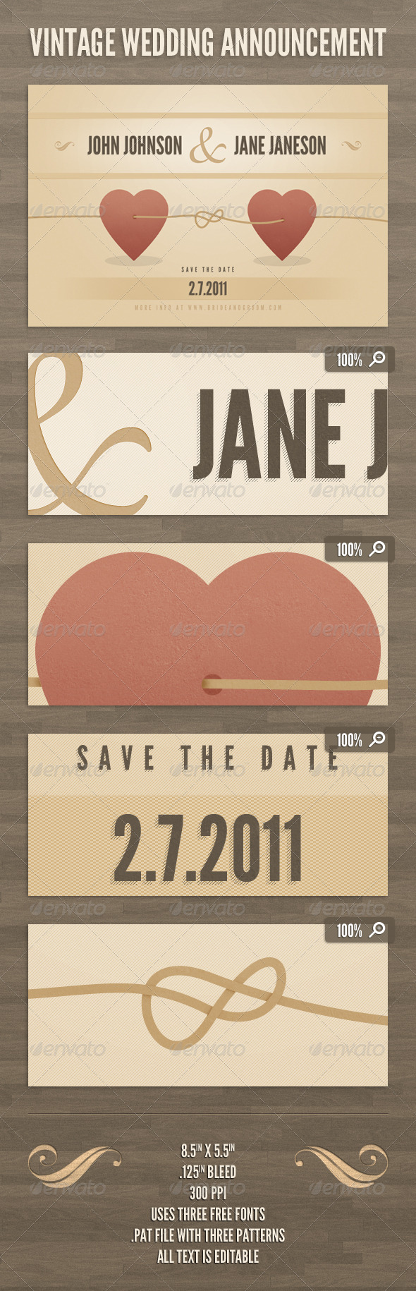 Vintage Wedding Announcement Template - Weddings Cards & Invites