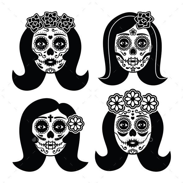 GraphicRiver Mexican La Catrina Day of the Dead Girl Skull 11001851