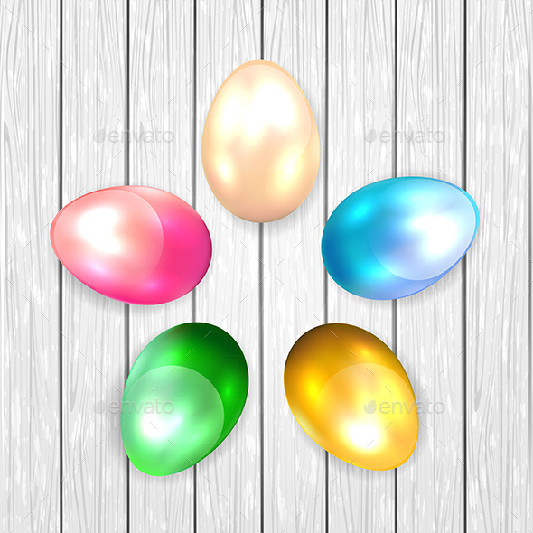GraphicRiver Colored Easter Eggs on Wooden Background 11002085