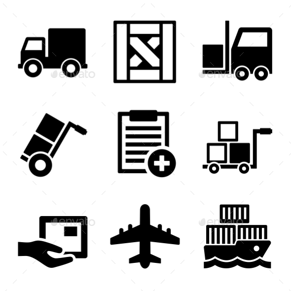 GraphicRiver Shipping Cargo Warehouse and Logistic Icons Set 11002140