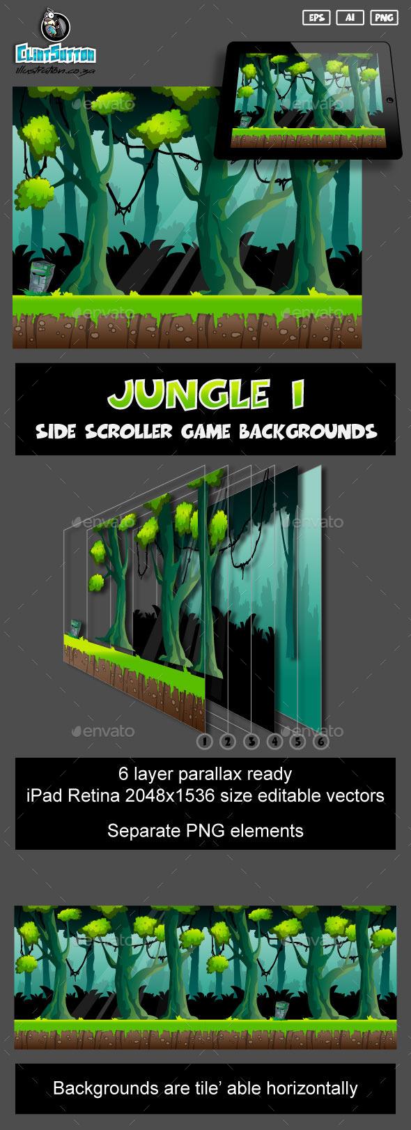 GraphicRiver Jungle1 game background 11002259