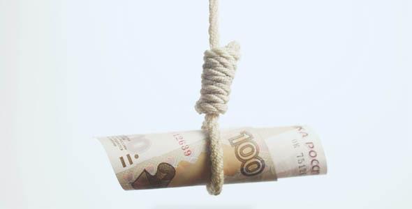 Ruble Currency Hangman Falling Russian Economy