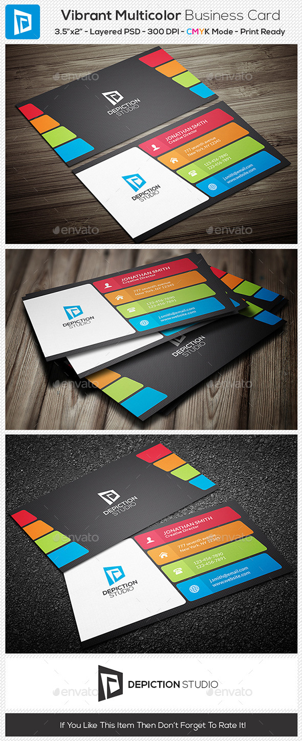 GraphicRiver Vibrant Multi color Business Card 11002378