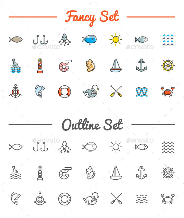 GraphicRiver Great 21&21 Vector Sea Food Icons Set 11002820