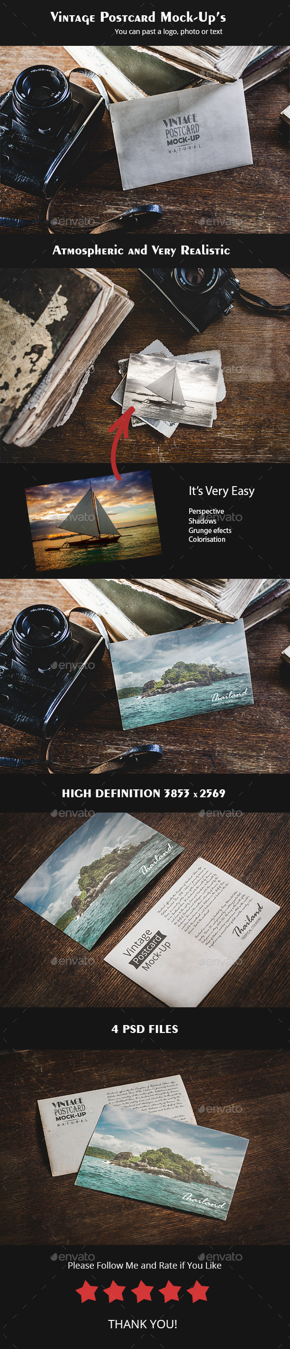 GraphicRiver 4 Vintage Postcard Mock-up 11002944
