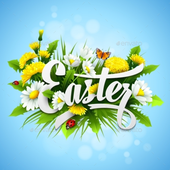 GraphicRiver Easter with Spring Flowers 11003139