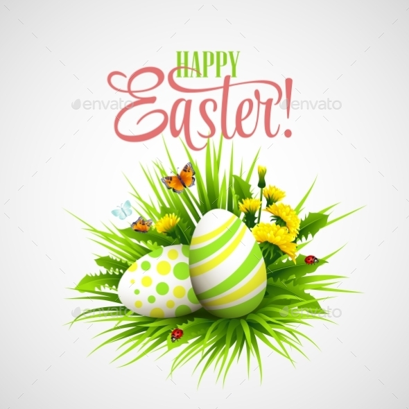 GraphicRiver Easter Card with Eggs and Flowers 11003151