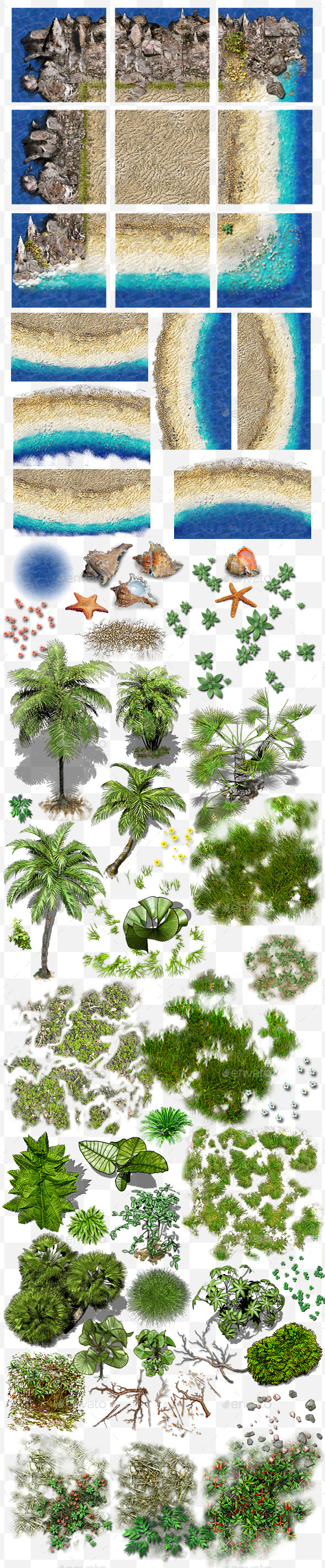 GraphicRiver Jungle coast tile set and decals 11003170