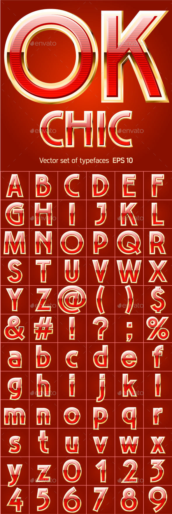 GraphicRiver Red Alphabet with Golden Border 11003480