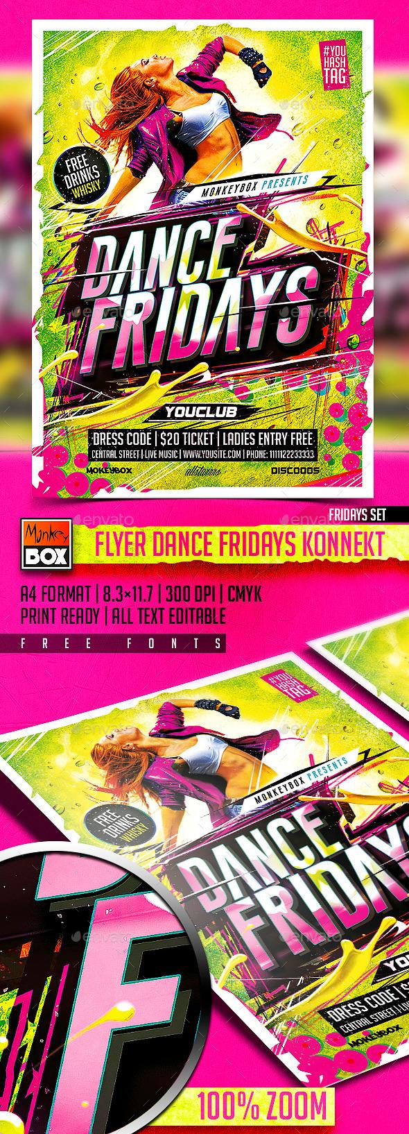 GraphicRiver Flyer Dance Fridays Konnekt 11003542