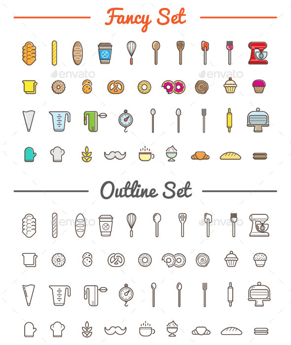 GraphicRiver Great 37&37 Vector Bakery Pastry Icons Set 11003550