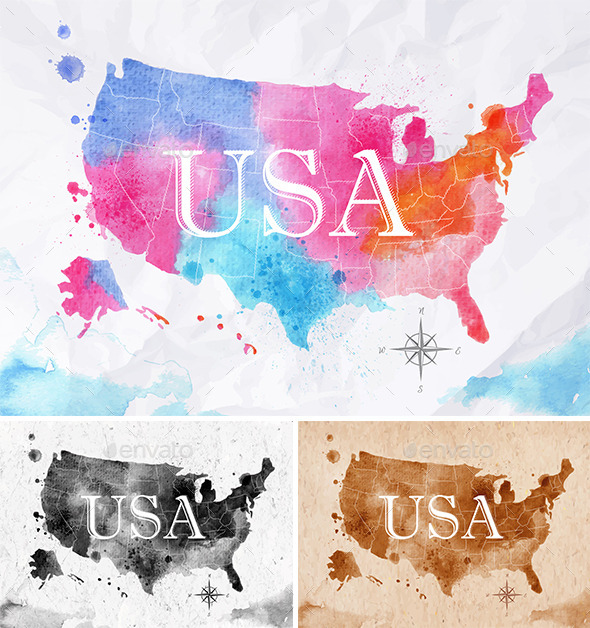 GraphicRiver Watercolor Map USA 11003930