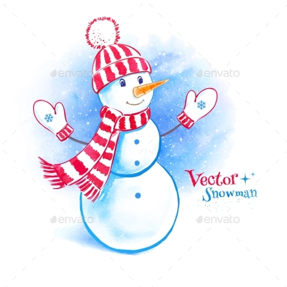 GraphicRiver Watercolor Snowman 11004057