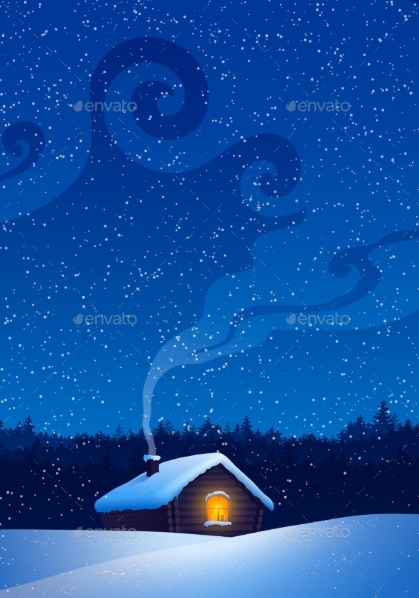 GraphicRiver Winter Landscape with House 11004075