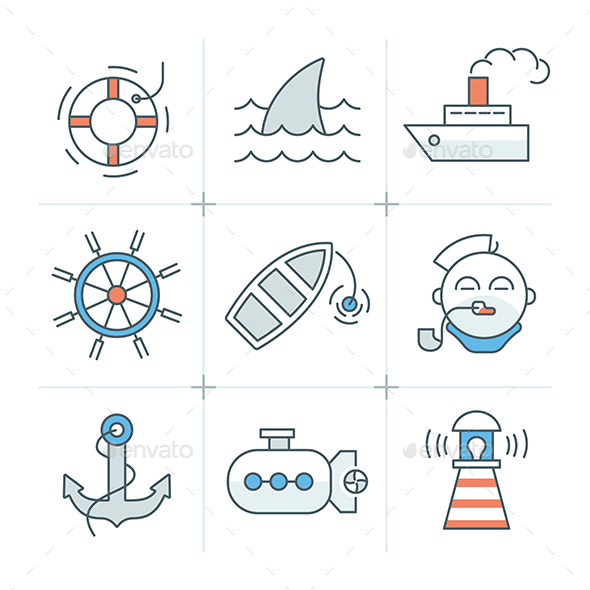 GraphicRiver Nautical Icons Collection 11004146