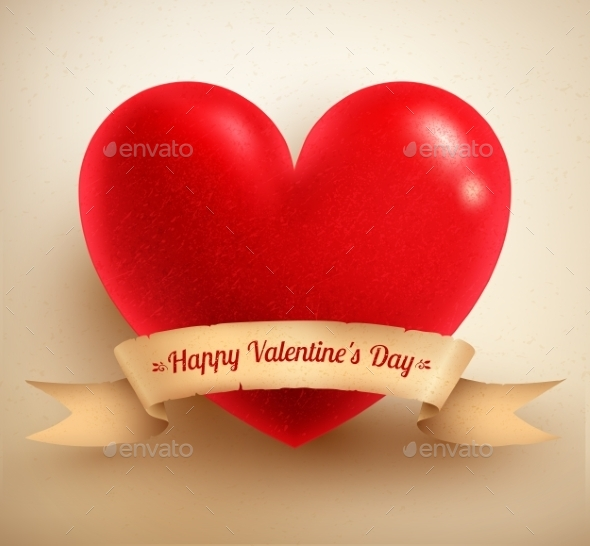 GraphicRiver Heart with Vintage Paper Banner 11004335