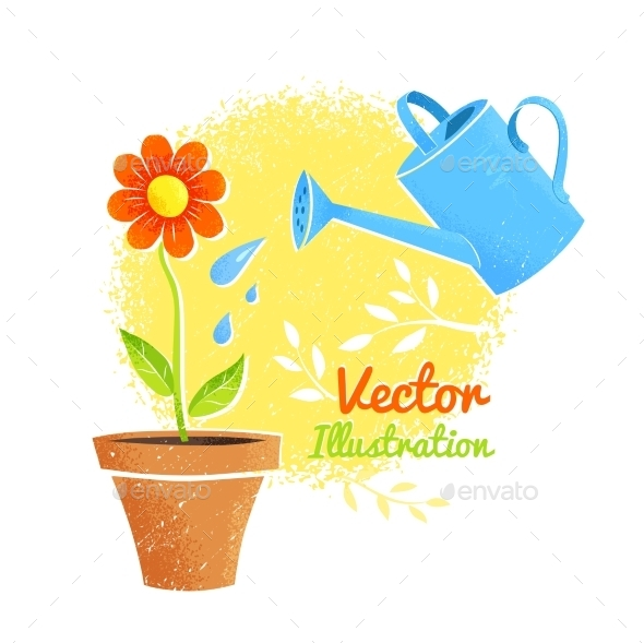 GraphicRiver Flower and Watering Can 11004346