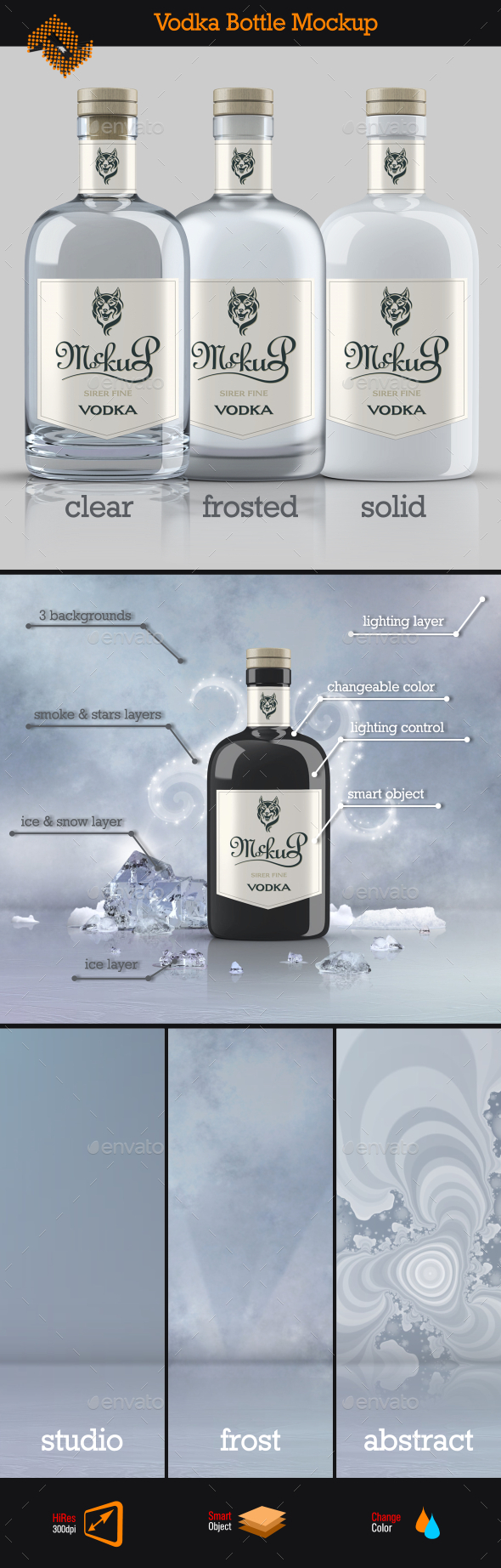 GraphicRiver Vodka Bottle Mockup 11004376