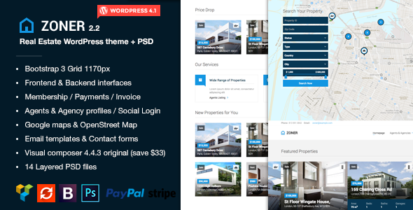 Zoner - Real Estate WordPress theme