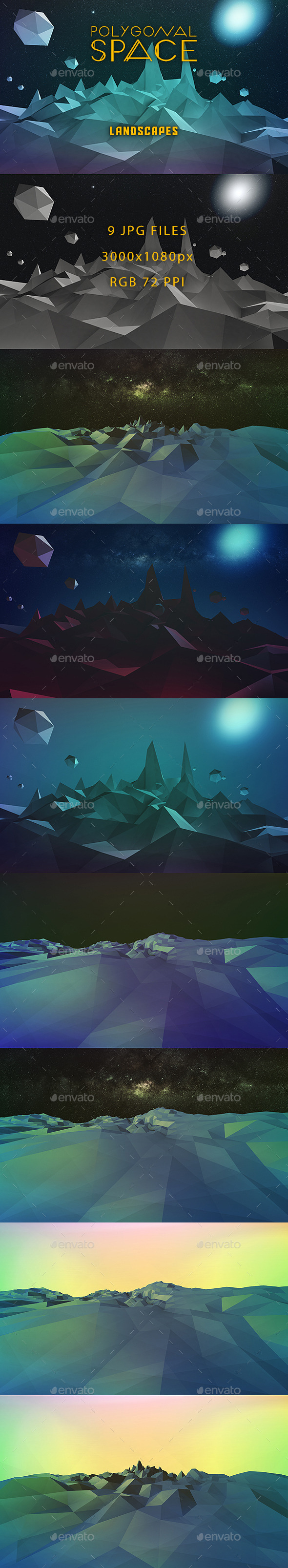 GraphicRiver Low Poly Space Landscapes 11004433