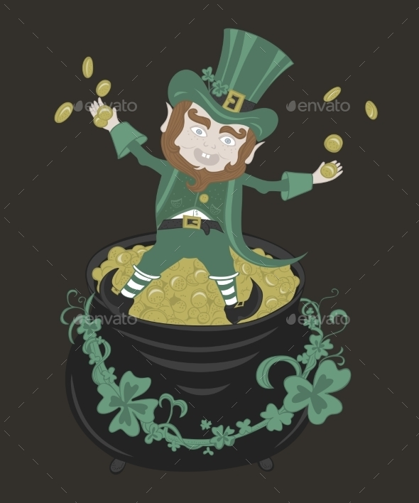 GraphicRiver Saint Patrick Playing with Golden Coins 11004439