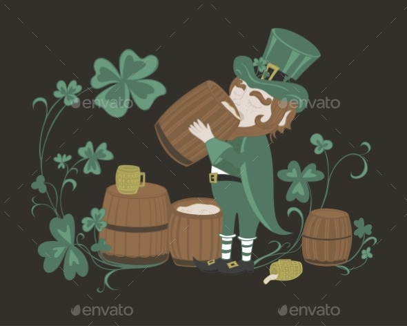 GraphicRiver Leprechaun Drinks Beer from a Wooden Barrel 11004443