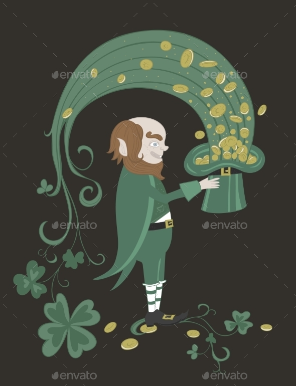GraphicRiver Leprechaun Holding a Green Hat with Gold Coins 11004447